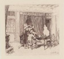 ANTIQUE VERSAILLES MAN MAID WOMAN CURTAINS DINING TABLE MINIATURE ART PRINT