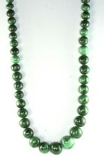 Vtg Hand Carved 655 Carats Malachite Beads 23.5 Inch Necklace Kmxm