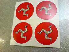 ISLE OF MAN TT Fans Motorcycle Car Wheel Centre Stickers Decals 4 off 50mm