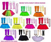 NEON TUTU SKIRT SET GIRLS PARTY 80'S FANCY DRESS BEADS TUTU RARA SKIRT SET NEW
