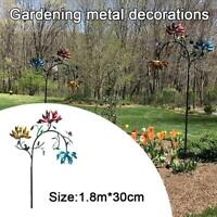 Large Metal Wind Spinner With Three Spinner Flower And Butterfly Windmill NEW