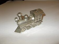 Vintage cast pewter steam railroad locomotive shaped coin savings bank no plug