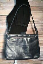 Vintage Ruth Saltz Blue Leather Handbag Satchel Bag Tote Purse Braided Handle