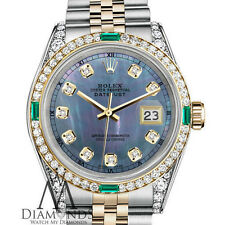 Rolex Steel 18K Gold 36mm Datejust Watch Tahitian Pearl Emerald Diamond Jubilee
