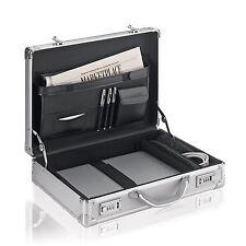 Laptop Attache Aluminum Briefcase Combination Locks Storage Holder Carrying Case