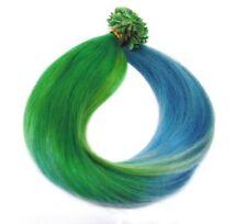 Haarverlängerung Hairextensions Ombre Style 50cm Haarsträhnen grün Spitze türkis