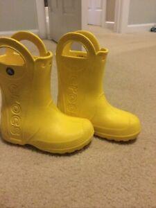 "CROCS Little Kids ""Handle It"" Rain Boots Yellow 12"