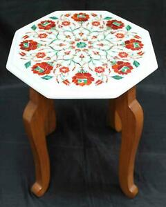White Marble Octagon Coffee Table Top Malachite Floral Inlay Home Decor W654
