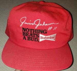 VTG Junior Johnson #11 Red Snapback Hat NASCAR Racing Budweiser Beer Bud USA