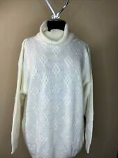 Carriage Court Colbalt Blue Cable Knit Vintage 80s Oversized Crew Neck Long Sleeve Sweater Womens Size Large