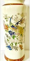 "Vtg Japanese Satsuma Handpainted Gold Moriage Bird Of Paradise Peacock Vase 12""H"