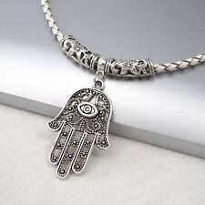 Silver Alloy Khamsa Hamsa Hand Eye Pendant Braided White Leather Choker Necklace