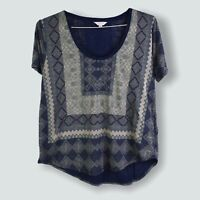 Lucky Brand Women's Top L Blue Geometric Printed Scoop Neck Short Sleeve Large