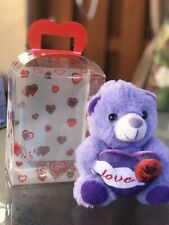 Valentines Day Teddy Bear With Hearts Clear Bag Purple