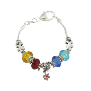 """Autism Awareness Bracelet Puzzle Piece Charms Crystal Beads Silver 7.5"""""""