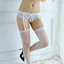 White See Through Lace Knickers with Attached suspenders   CSO2007