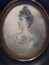 Portrait miniature au crayon - Élégante fin XIXème - Monogrammé.