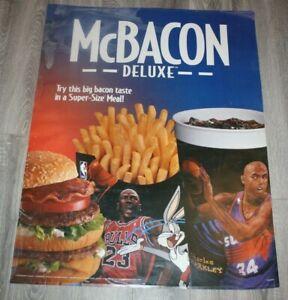 "Mcdonalds  Advertising Sign /Poster  "" Michael Jordan"" McBacon Deluxe"