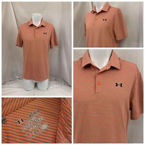 Under Armour Loose Polo Golf Shirt M Men Orange Poly Blend Worn Once YGI S1-382