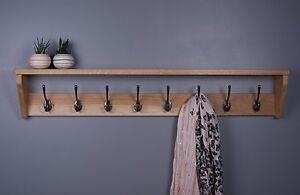 Oak Coat Rack With Shelf - Wooden Coat Rack - Cast Iron Hooks
