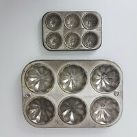 Vintage Metal Muffin Bakeware x 2 Small Large Bun Tray Collectable Kitchenware