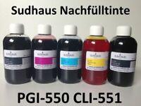 5x 500ml ORIGINAL Sudhaus Premium Tinte Refill ink für PGI550 CLI551 Patronen