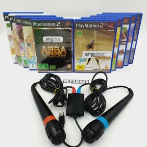 SingStar Mega Bundle - Microphones +10 Games, Like New SONY PlayStation 2 ps2