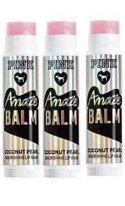 3 New Victoria's Secret PINK Coconut Pearl Amaze Coconut Nourishing Lip Balm.