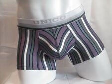 Unico Underwear Microfiber Boxer Brief Striped Sanscrito Gray / Purple (XL)