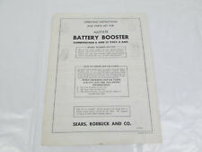 Sears Allstate Battery Booster 6 & 12 Volt 6 Amp Owners Manual Model 60871510