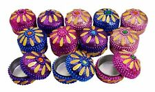 A Set Of 12Pcs Mirror Work Beaded Multi Jewellery Boxes 1.3 Inches
