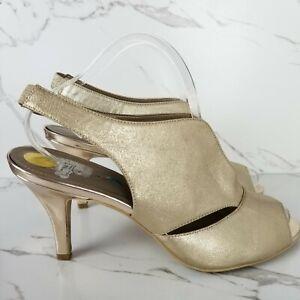 Bandolino Womens Size 10 Gold Mirabella Shiny Metallic Open Toe Slingback Heels