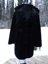 Covington Very Dark Brown Goth Victorian Faux Beaver Jacket With Hoodie Gypsy Xl