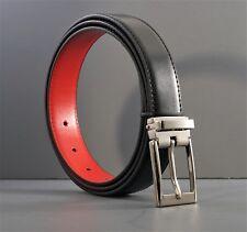 "Men 1 1/4"" Black/Red reversible (#32sr)silver tone removable pin buckle 44"" long"