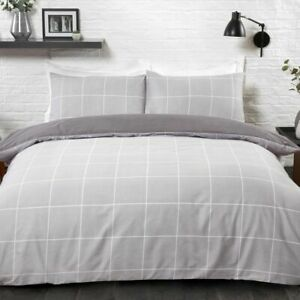 Grey Grid Check Bedding Duvet Cover Set with Pillowcase Single Double King