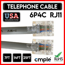 Phone Line Cord Reverse 6P4C RJ11 Plug Landline Telephone Cable Cable FAX