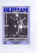 Oldham Athletic V PLYMOUTH ARGYLE FOOTBALL programma/Magazine 28th NOVEMBRE 1987
