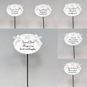 White Oval Cherub Plaque on Stick Grave Stone Decoration Tribute Memory Ornament
