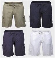LIVERGY Mens CARGO LINEN Chino Summer Shorts Blue or Indigo Knee Length W32-42