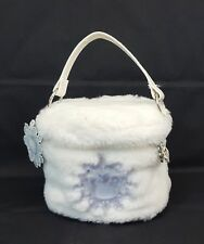 1999 Sanrio HELLO KITTY Snow ANGEL Round WHITE FUR Makeup VANITY Bag Rare NEW