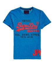 Superdry Men's Shirt Shop Duo Overdyed Tee T-Shirt New Wave Blue Sizes:S - XXXL