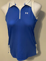 Under Armour Women's Collared Sleeveless HeatGear 1/4 Zip Top Sz M Blue/White