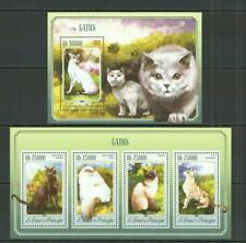 [STP] S.TOME & PRINCIPE 2014 - CATS, DOMESTIC ANIMALS. 2 S/SHEETS.
