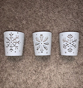 Yankee Candle Company Winter Snowflake Tea Light Candle Holders - Set of 3 NEW