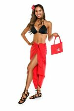 1 World Sarongs Womens Swimsuit Cover-up Cotton Sarong in Red With a Bag