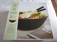 Handmade Bamboo Salad Pasta Black Bowl with Fork and Spoon In Box