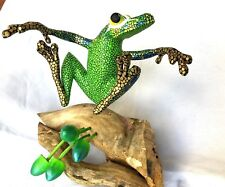 FROG Alebrije Sculpture Hand Painted and Carved Oaxacan Folk Art Oaxaca Mexico