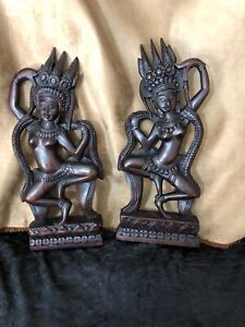 """A Mirror Image Pair of Temple Dancers - Carved Wooden Figures/Statues 12"""" tall"""