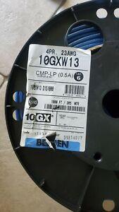 Belden 10GXW13 CAT6A Plenum Solid Bare Copper 4 Pair Blue Ethernet Cable 1000ft