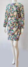 Vintage Carol Anderson Rich Rayon Lilac Floral Sarong LS Short Dress M